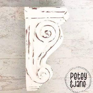 Hand Painted & Wet Distressed Wood Corbel